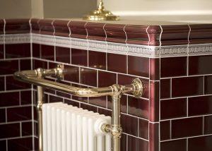 Burgundy Period Embossed Bathroom Tiles