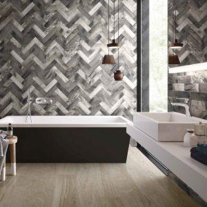 Bathroom with Dark-Grey Vari-Brick Wall