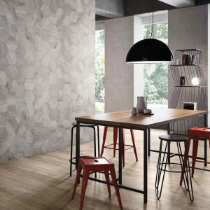 Vari-Hex Tiles in a Dining Room