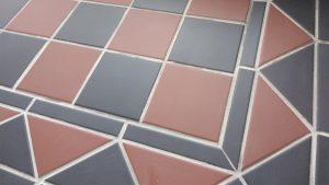 Brick Red and Black Victorian Hallway Tiles