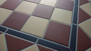 Cream and Red Victorian Hallway Tiles