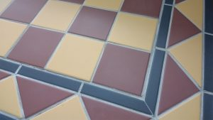 Buff Yellow and Red Victorian Hallway Tiles