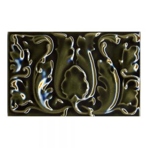 9x6 Floral Panel Victorian Green Tile