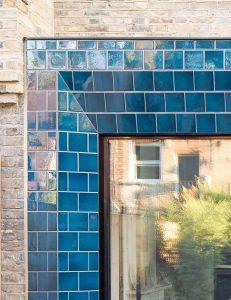 Tiled sliding patio door surround